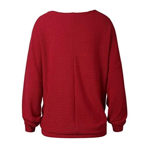Felpe Monocromo Libero Tunica Rossi Camicia Tempo Autunno Bluse Abbigliamento Lunghe Rotondo Maniche Top Donna A Shirts Primaverile Baggy Elegante Tops Collo Moda Hxn1RqwP