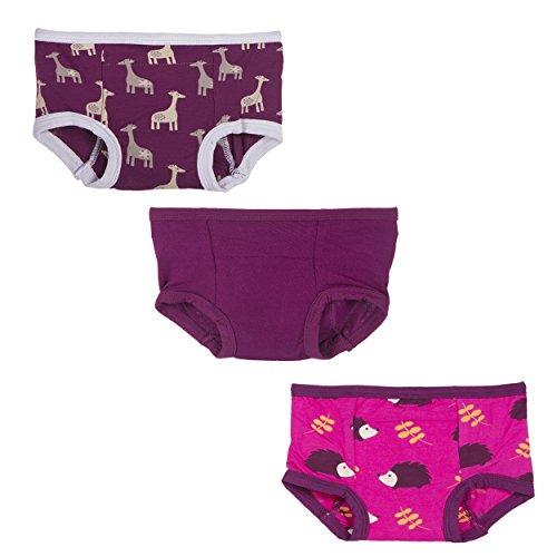 KicKee Pants • Bamboo • Toddler Potty Training Pants • Boy / Girl • 3 Pack (3T/4T, Giraffe - Melody - Hedgehog)
