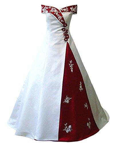 Snowskite Women's Off Shoulder Satin Embroidery Beaded Wedding Dress White&Burgundy 18