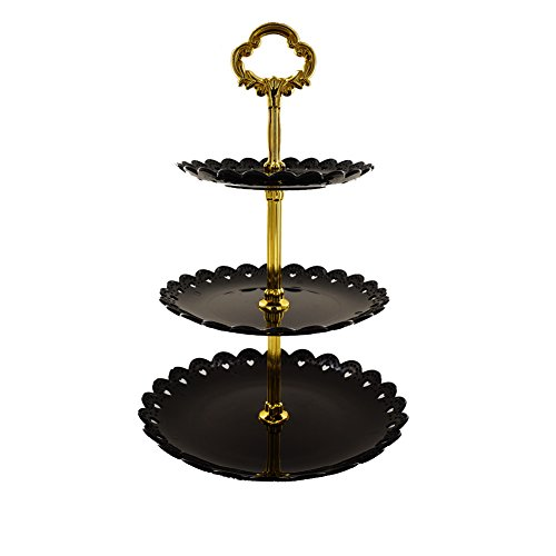 Artliving 3-tier Plastic Cake Stand-Dessert Stand-Cupcake Stand-Tea Party Serving Platter Black - Plate Buffet Gold