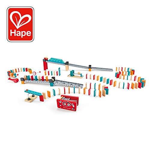 Hape Robot Factory Domino   Double -Sided Wooden Ball Domino Set, Educational Game for Kids