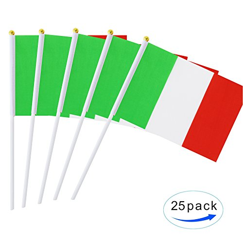 - Kind Girl 25 Pack Hand Held Small Mini Flag Italy Flag Italian Flag Stick Flag Round Top National Country Flags,Party Decorations Supplies For Parades,World Cup,Festival Events,International Festival