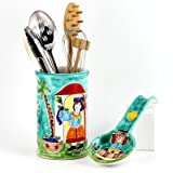 LA MUSA: Combo 2 Pcs Set Utensil Holder + Spoon Rest - 'Sicilian' Grape Harvest