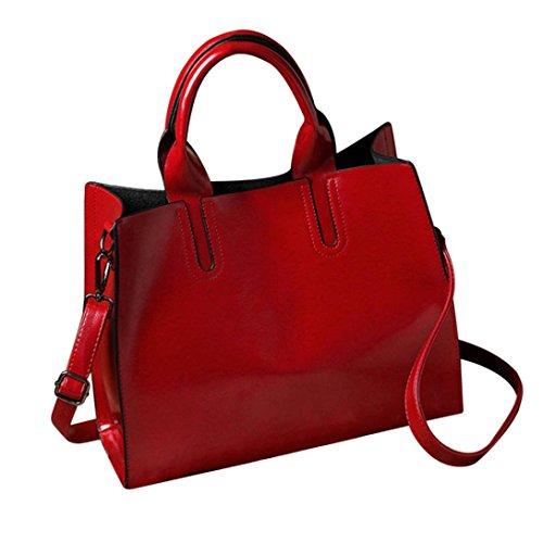 Bolsos Bandolera de Mujer Logobeing Bolsos de Hombro de Cuero de La Moda de Las Mujeres Con El Bolso Del Bolso de Crossbody Rojo