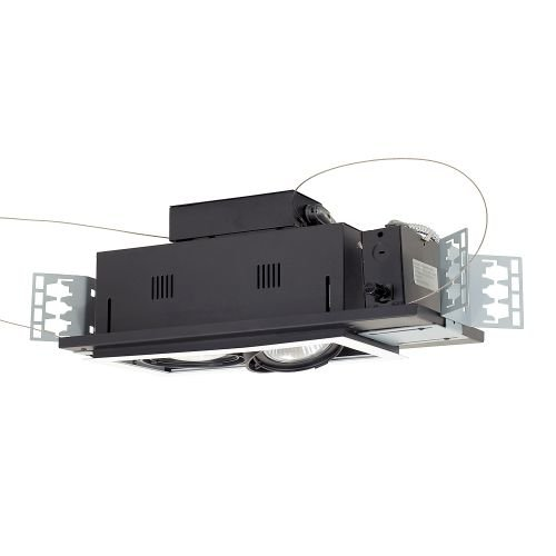 Building Entrance Terminal (Jesco Lighting MGP30-2WB Modulinear Directional Lighting For New Construction, Double Gimbal PAR30 2-Light Linear, Black Interior With White Trim)