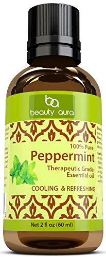 Beauty Aura 100% Pure Peppermint Essential Oil - 2 fl oz - Premium Therapeutic Grade Essential Oil for Aromatherapy - Natural Solution for Repelling Mice, Spiders & Pests from Beauty Aura