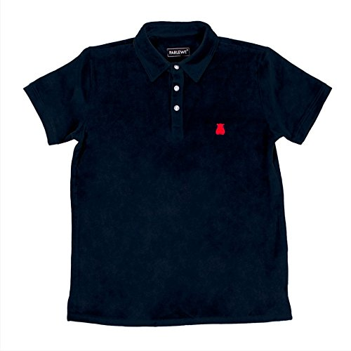 Parlewe Mens Terry Cloth Polo - Soft Polo and Moisture Wicking - Golf, Hike, Tailgate (M, Navy)
