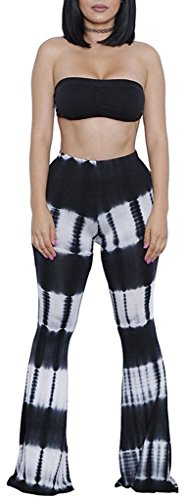 (YiYaYo Womens Two-Piece Tie Dye Print Bandeau Top Flared Bell Bottom Yoga Pants Set Outfits Black M)