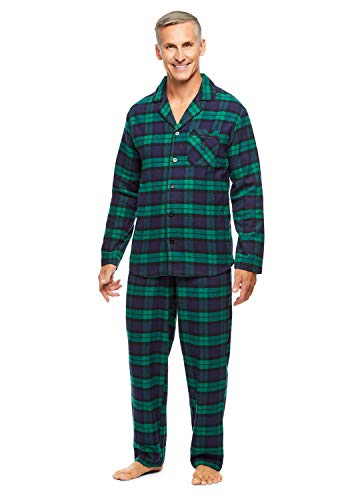 Haggar Men's 2-Piece Pajama Set | Long Sleeved Sleep Shirt & Plaid Pants -
