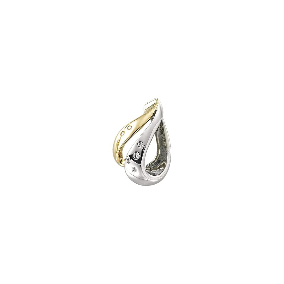 14K Two Tone Gold Diamond Chain Slide