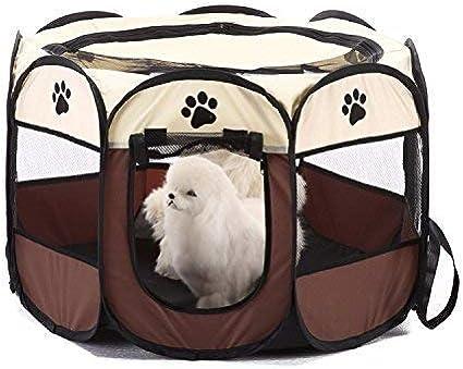 The Fellie Pet Play Pen Port/átil Plegable Perro Mascota Gato Conejo Guinea Pig Tela Plato Jaula Caseta Carpa Caseta Caseta Marr/ón S 74 x 74 x 43 cm