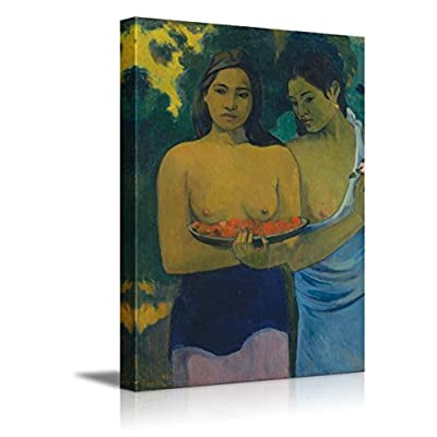 Two Tahitian Women by by Paul Gauguin French Post Impressionist, Classic Artwork, Pretty Technique