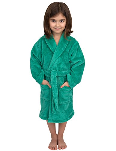 TowelSelections Little Girls' Plush Shawl Robe Soft Fleece Bathrobe Size 4 Sea Green