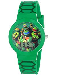 Ninja Turtles Kids' Digital Watch with Black Bezel, Patterned Black Strap - Official TMNT Characters on the Dial, Light Weight, Safe for Children - Model: TMN4027