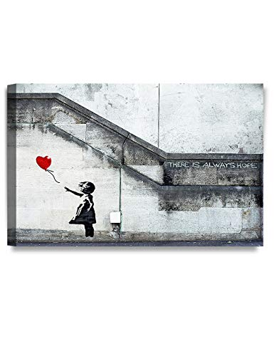 DECORARTS - There is Always Hope - Graffiti Artworks by Banksy. Giclee Print Wall Art for Home Decor and Wall Decor.30x20 x1.5