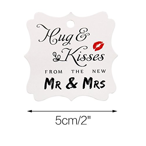 Wedding Favor Gift Tags, 100 PCS White Square Tags with 100 Feet Natural Jute Twine Perfect for Bridal Baby Shower Anniversary- Hug & Kisses from The New Mr & Mrs