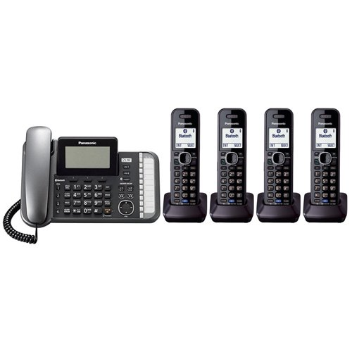 Panasonic KX-TG9582B + 2 KX-TGA950B Corded/Cordless Combination Telephone 2-Line DECT 6.0 - Kxtg9582 Panasonic