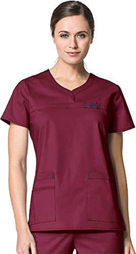 WonderWink Wonderflex Women's Patience Curved Notch Solid Scrub Top Large Wine by WonderWink