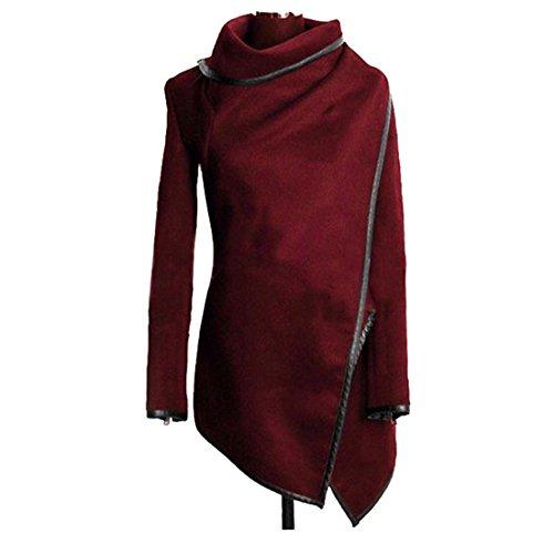 Wenyujh Col Hiver Jacket Hoodie Chaud Slim Rouge Manche Fashion Veste Blouson Longue Manteau Haut Asymtrique Femme 0nw6qrgx70