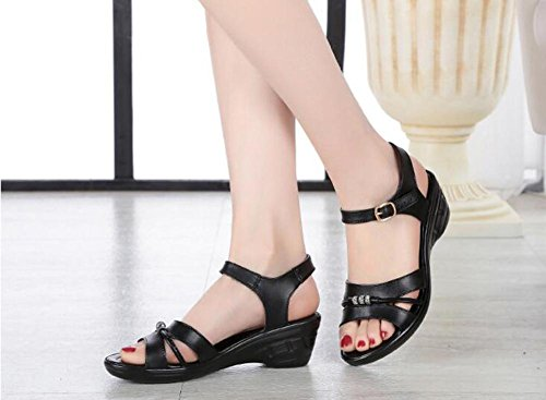 Girls L@YC Women Slope With Summer Sandals Leather With Casual Large Size Comfortable High Heels , black , 38