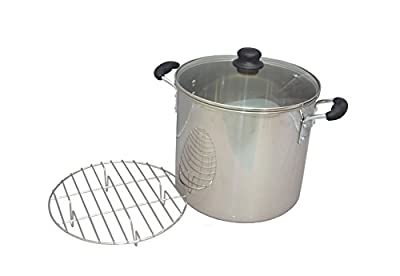 IMUSA USA GKA-61016 Stainless Steel Tamale & Seafood Steamer with Glass Lid 16-Quart