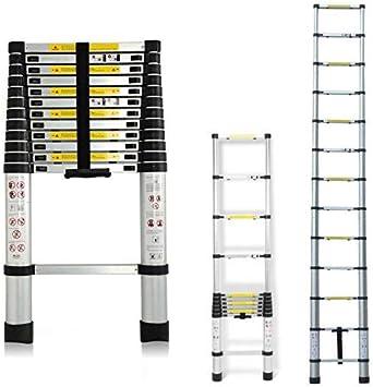 Escalera extensible aluminio plegable telescópica escalera de ...