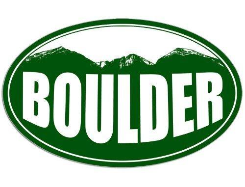 Oval BOULDER Colorado Mountain BG Sticker (snow ski (Boulder Sticker)