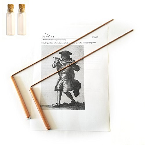 FM&OT Dowsing Rod Copper -Solid Material 99% - Ghost Hunting, Divining Water, Gold, Buried Items, etc. Instructions and Video Sources Included - 5x13 Inch – Non-toxic by