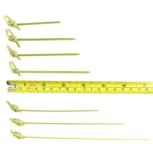 BambooMN 3.5'' Bamboo Green Knotted Knot Skewers Picks for Cocktails and Hors' D'oeuvres Party Supplies, 1000 Pieces by BambooMN (Image #5)