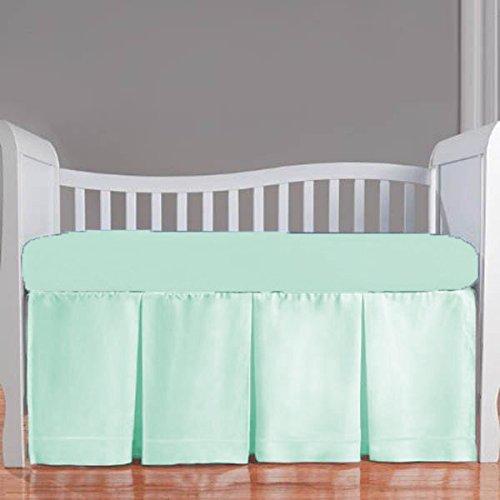 Nursery Baby Cradle Bedding Set 100% Egyptian Cotton 500 TC 3-Piece Set Fitted Sheet, Comforter, Bumper (Aqua,Cradle)