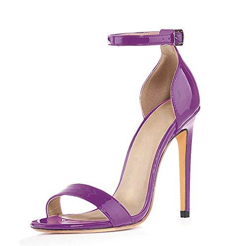 uBeauty Womens High Heel Sandals Ankle Strap Open Toe Buckle Heels Slingback Stiletto Heels Sexy Shoes Purple tziWEmwPF
