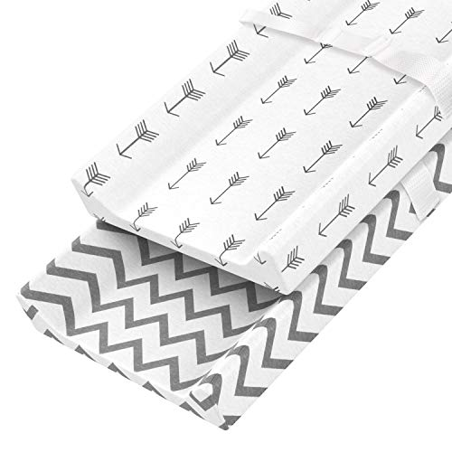 - Zooawa Diaper Changing Pad Cover, 2 Pack 100% Organic Cotton Cradle Sheet Changing Table Pad Cover Set with Safety Buckle for Baby Newborn Infant, Stripe + Arrow