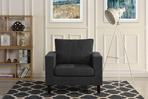 Modern Tufted Linen Fabric Armchair, Living Room Chair (Dark Grey)