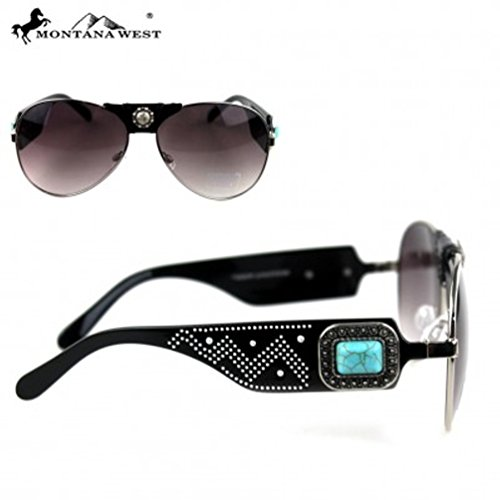 Montana West Turquoise Concho Collection Aviator Sunglasses SGS-3706 BK