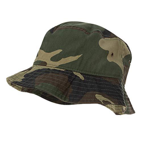 68d323de1 Bandana.com 100% Cotton Bucket Hat for Men, Women, Kids - Woodland Camo -  Single Piece - Large/Extra Large Size - Summer Cap Fishing Hat