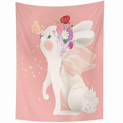 Ahawoso Tapestry 50x60 Inch Magic Baby Cute White Bunny Fairy Drawing Wings Floral Bouquet Butterfly Character Girl Wall Hanging Home Decor for Living Room Bedroom Dorm -