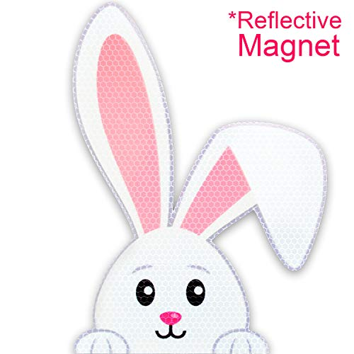 Peek-A-Boo Easter Bunny Reflective Magnet Car Decoration | Funny / Cute Rabbit | Large 9