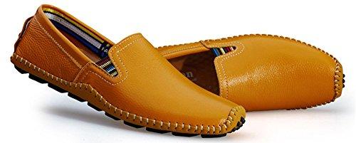Hw-goods Mens Mocassins En Cuir De Couleur Pure Doux Et Occasionnels Chaussures À Enfiler Jaune