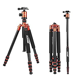 ZOMEi Z818 Hiking Tripod- Professional Aluminum Camera Tripod for DSLR Cameras Canon Nikon Sony(Orange)