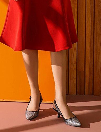 Zapatos Elegantes De Sandalias Negro Aguja Tacones De De Mujer De Dama Tacones Verano De Zapatos Primavera Honor Zapatos Fina De Con ZCJB Tamaño 37 Lentejuelas Altos Novia Color 4qX8nUvZx