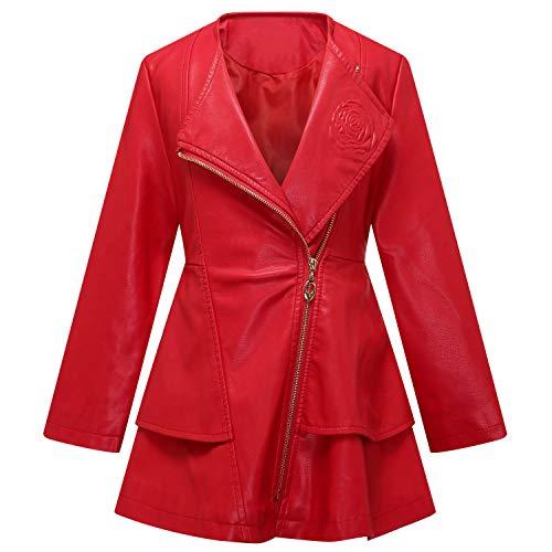 Girls Leather Coat Dress Outwear Windbreaker Kids Toddler Red 3T 4T Twins Dream