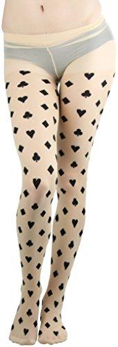 (ToBeInStyle Women's Card Suit Spandex Pantyhose - Beige/Black)