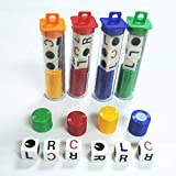 Aynsv LCR Dice Game,4 Tubes Left Center Right Family Dice Games Classmates Friends Colleagues Blue Green Yellow Red Acrylic 16mm