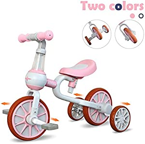 3 in 1 Baby Balance Bike for 1-4 Years Old Kids with Detachable Pedal and Training Wheels   Toys for 2 Year Old Boys Girls   Infant Toddler Bicycle Best First Birthday New Year