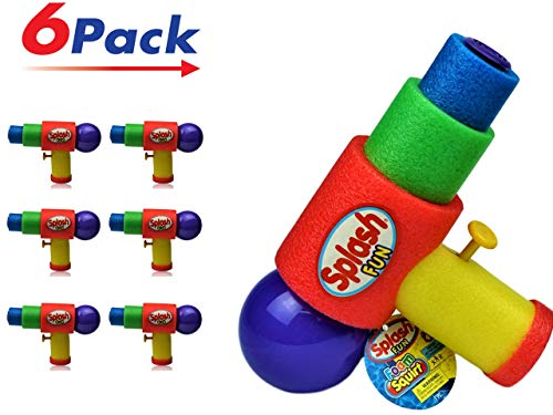 JA-RU Water Gun Safe Foam (Pack of 6) Squirt Splash Soak Toy | Item #891-6