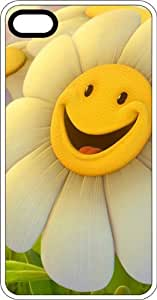Happy Smiling White Flower White Rubber Case for Apple iPhone 5 or iPhone 5s