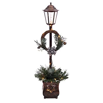 Puleo International 4 Foot Pre-Lit Christmas Lamp Post with 35 UL-Listed Clear Lights