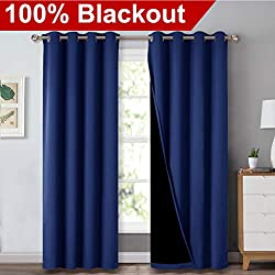 """NICETOWN 100% Blackout Blinds, Laundry Room Decor Window Treatment Curtains, Thermal Insulated Energy Smart Drapes and Draperiers for Villa, Hall and Studio, Royal Navy Blue, Set of 2, 52"""" x 95"""""""