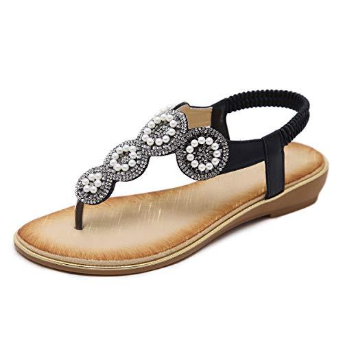 GetMine Womens Rhinestone Sandals T-Strap Buckle Bohemian Pearl Crystal Flat Sandals,Flip Flop 5 M Black