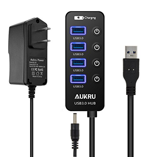 Aukru USB 3.0 Hub 4 ports Super Speed Data Transfer HUB with On Off Switch + 1 Charging Port with 5V 2A Powered Supply Adapter